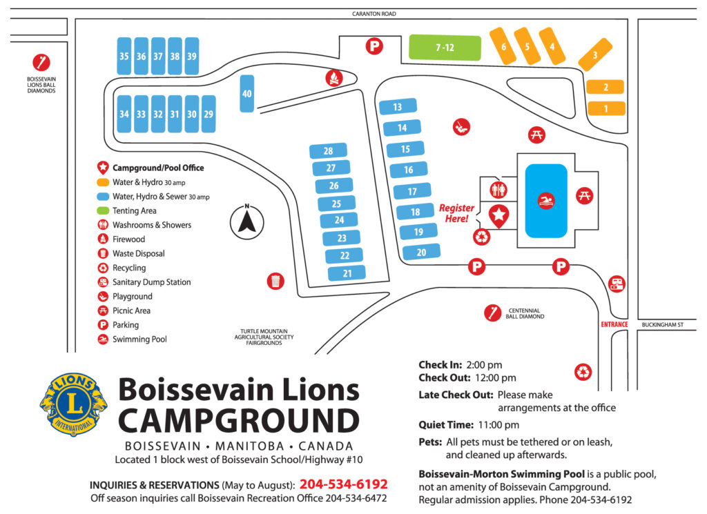 Map of the Boissevain Lions Campground